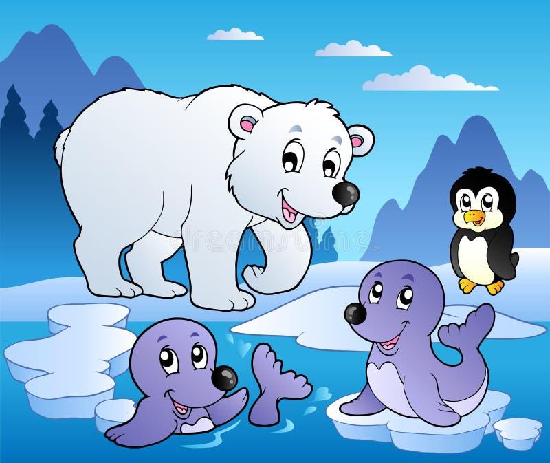 Escena del invierno con los varios animales 1 libre illustration