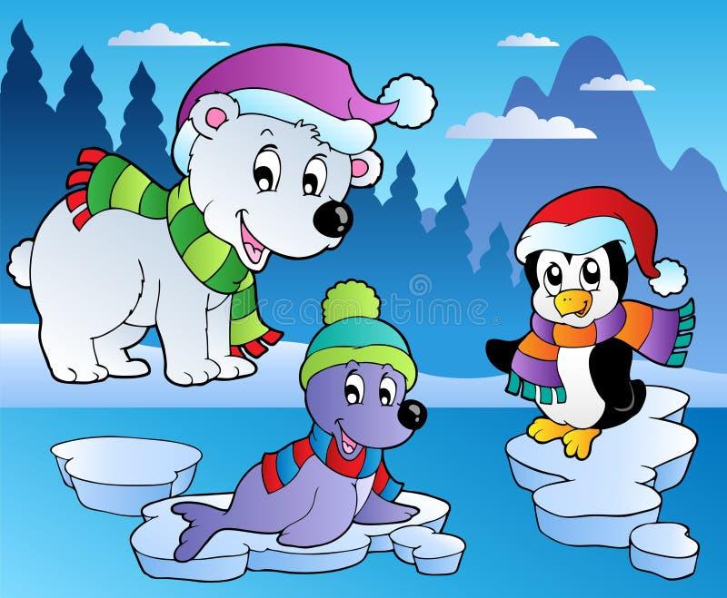 Escena del invierno con los varios animales 4 stock de ilustración