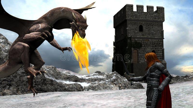 Escena del invierno de un caballero valiente Fighting con un dragón ilustración del vector