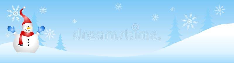 Escena del invierno del muñeco de nieve libre illustration