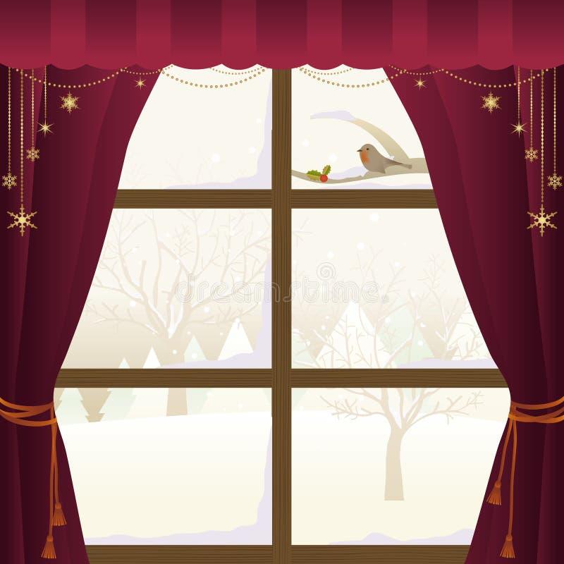 Escena del invierno a través de una ventana