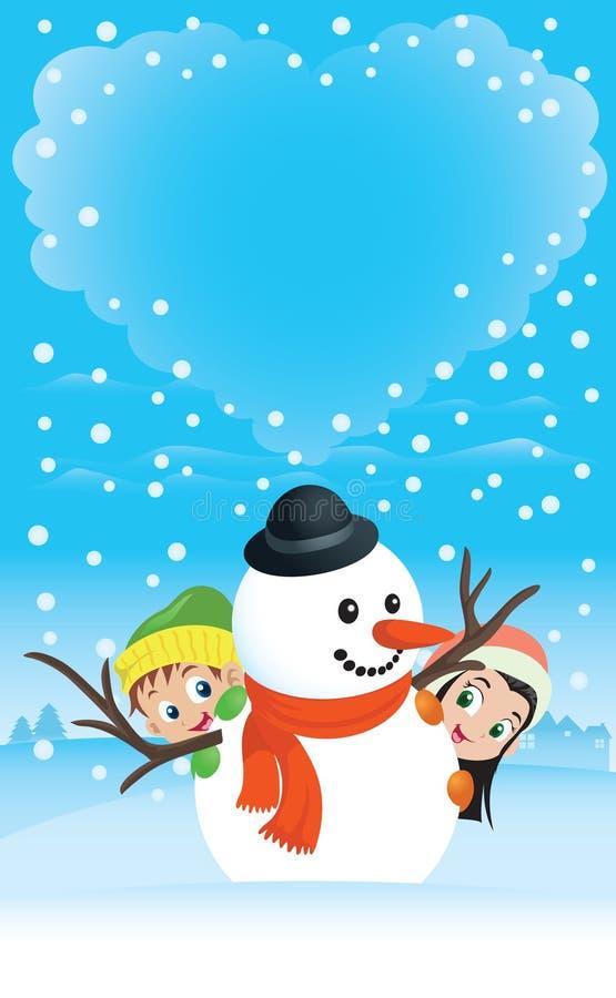 Escena del muñeco de nieve con la nube en forma de corazón ilustración del vector