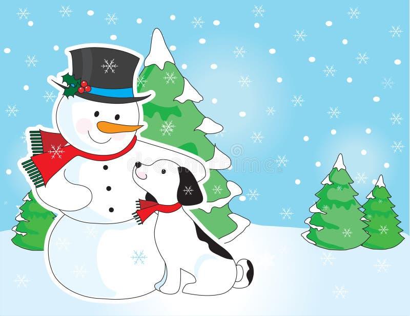 Escena del muñeco de nieve y del perro stock de ilustración