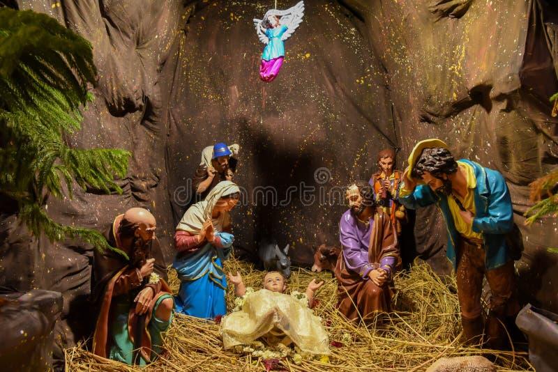 Escena del nacimiento de Jesús de la Navidad imágenes de archivo libres de regalías