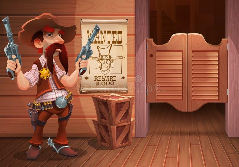 Escena del oeste salvaje del fondo - vaquero fresco del sheriff con el revólver, puerta del salón y cartel con la cara del vaquer ilustración del vector