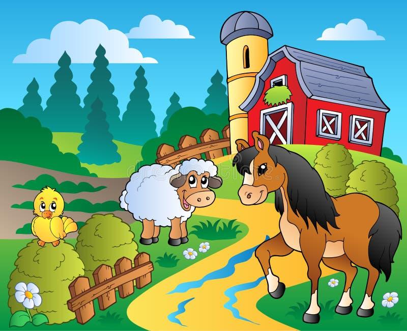 Escena del país con el granero rojo 2 libre illustration