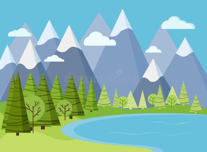 Escena del paisaje de la primavera o de la montaña del verano con agua del lago ilustración del vector