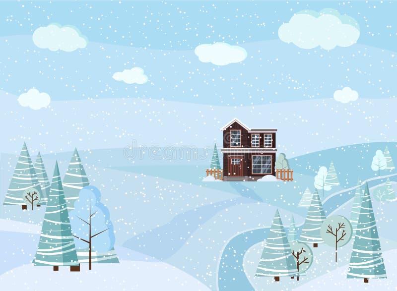 Escena del paisaje del invierno con la casa de dos pisos de la granja del país, árboles del invierno, piceas, nubes, río, nieve,  libre illustration