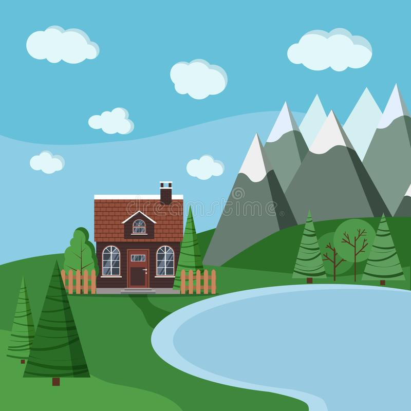 Escena del paisaje del lago del verano o de la primavera con la casa de la granja del ladrillo del país stock de ilustración