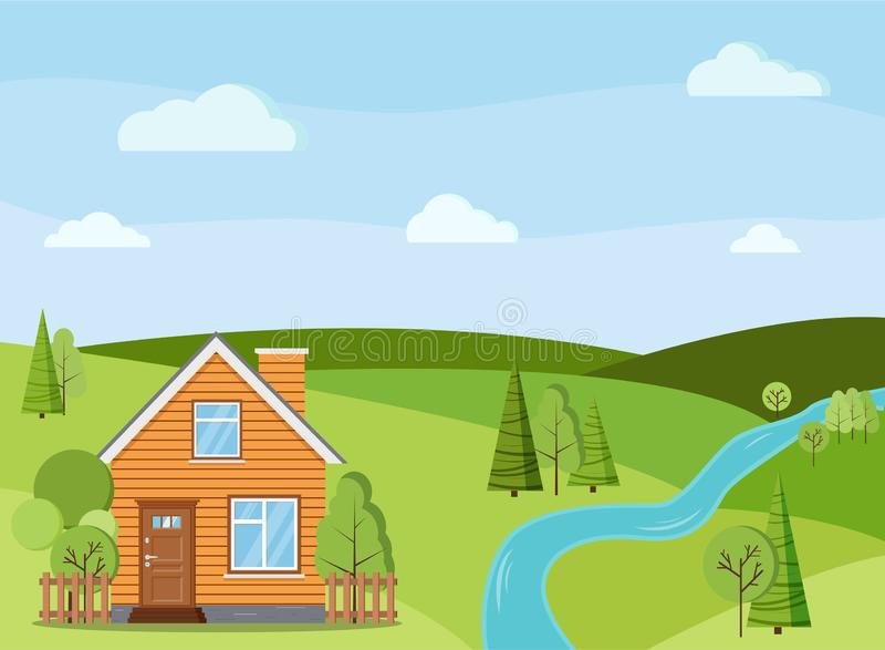 Escena del paisaje del río del verano o de la primavera con la casa rural de la granja del país con la chimenea ilustración del vector