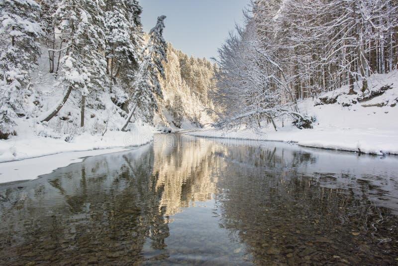 Escena del panorama con hielo y nieve en el río en Baviera, Alemania fotografía de archivo
