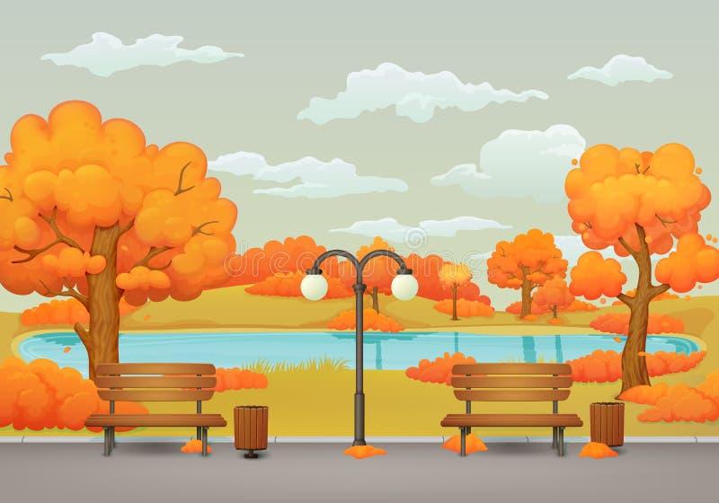 Escena del parque del día del otoño Bancos, botes de basura y lámpara de calle Lago en el fondo stock de ilustración