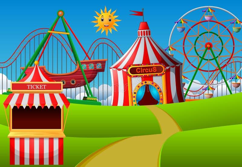 Escena del parque de atracciones en el d3ia stock de ilustración