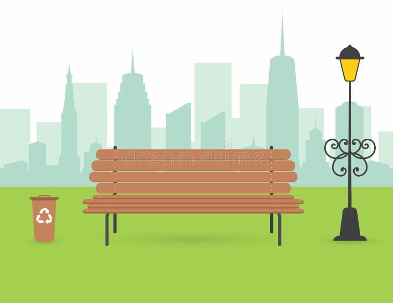 Escena del parque de la ciudad Banco de madera con la urna y la linterna Silueta de la ciudad con los rascacielos en fondo libre illustration