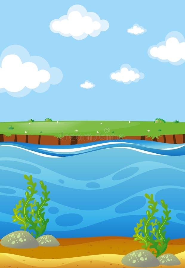 Escena del río con la visión subacuática stock de ilustración