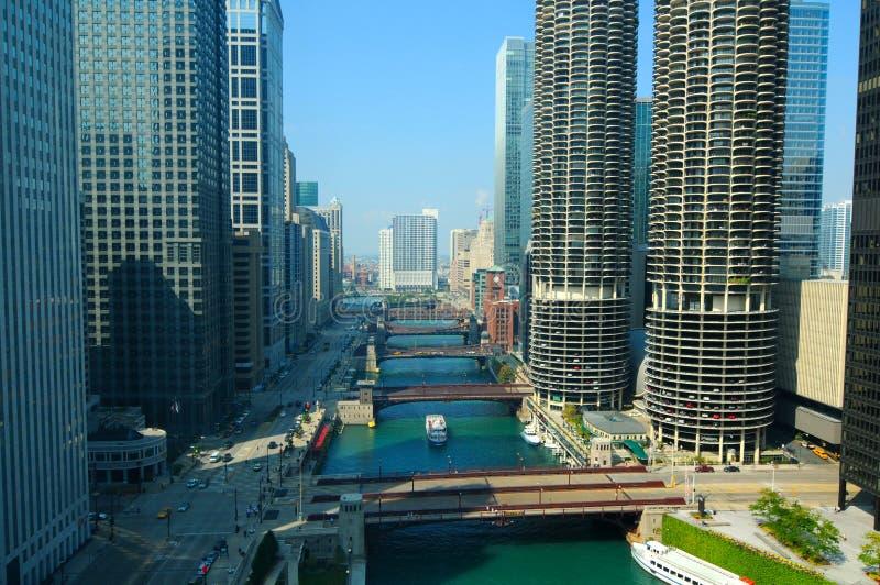 Escena del río de Chicago fotos de archivo