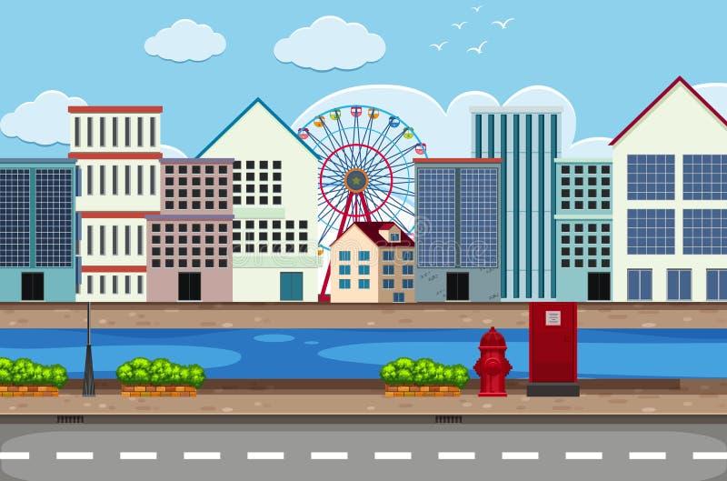 Escena del scape de la calle de la ciudad stock de ilustración