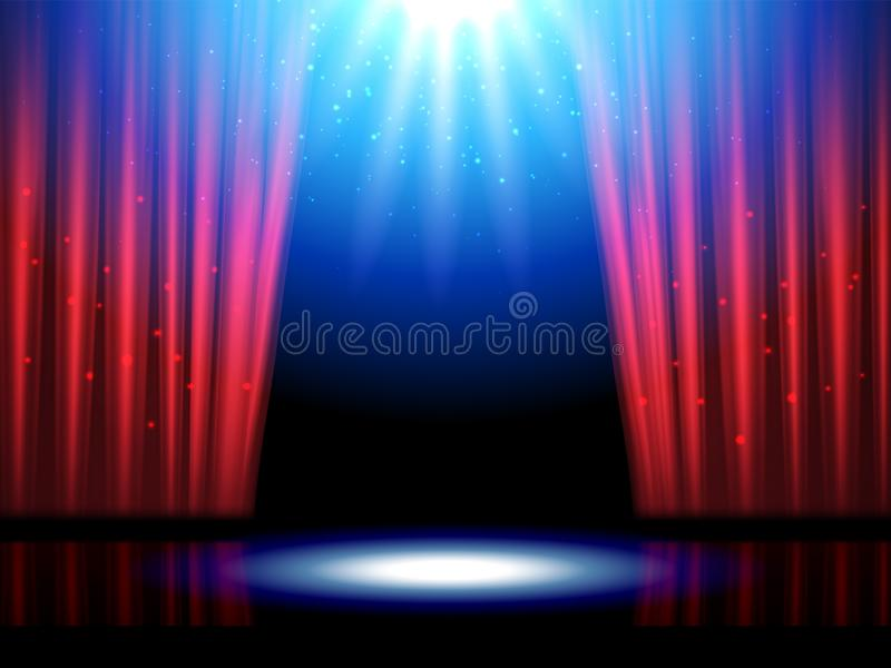 Escena del teatro con las luces o la etapa del teatro ilustración del vector