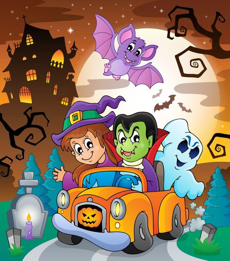Escena 7 del tema de Halloween stock de ilustración