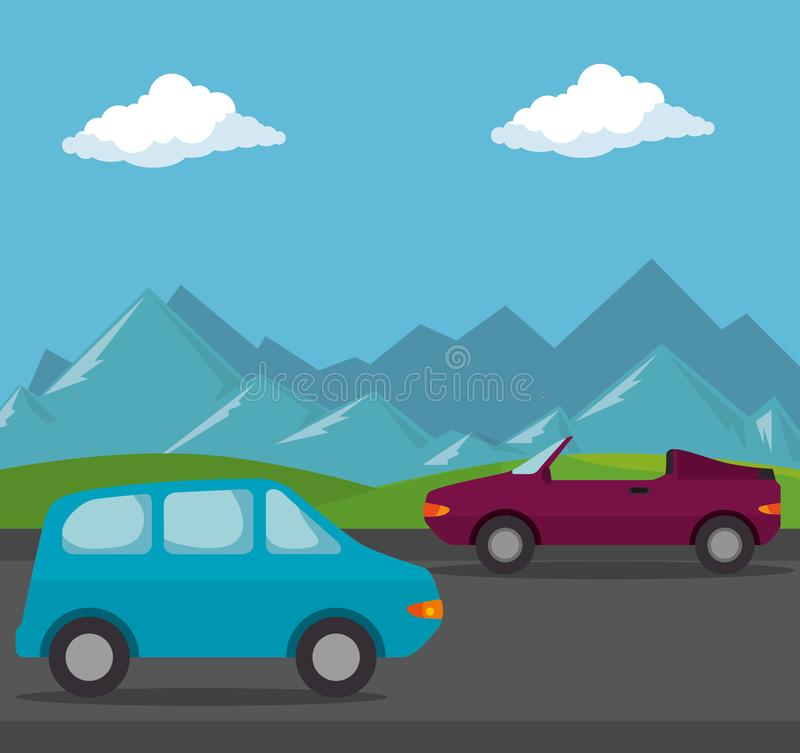 Escena del transporte de los vehículos de los coches ilustración del vector