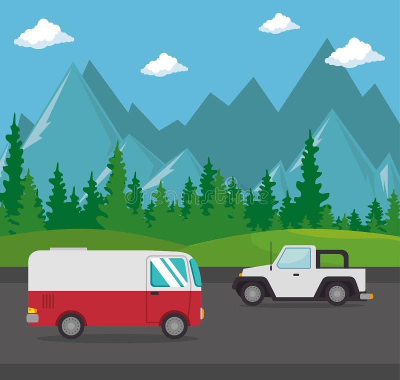 Escena del transporte de los vehículos de los coches libre illustration