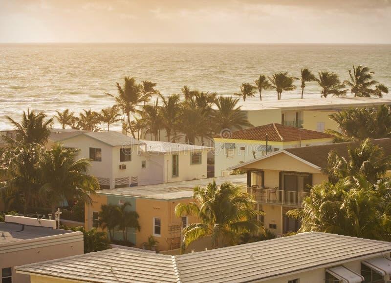 Escena del verano de Hollywood la Florida en la salida del sol foto de archivo libre de regalías