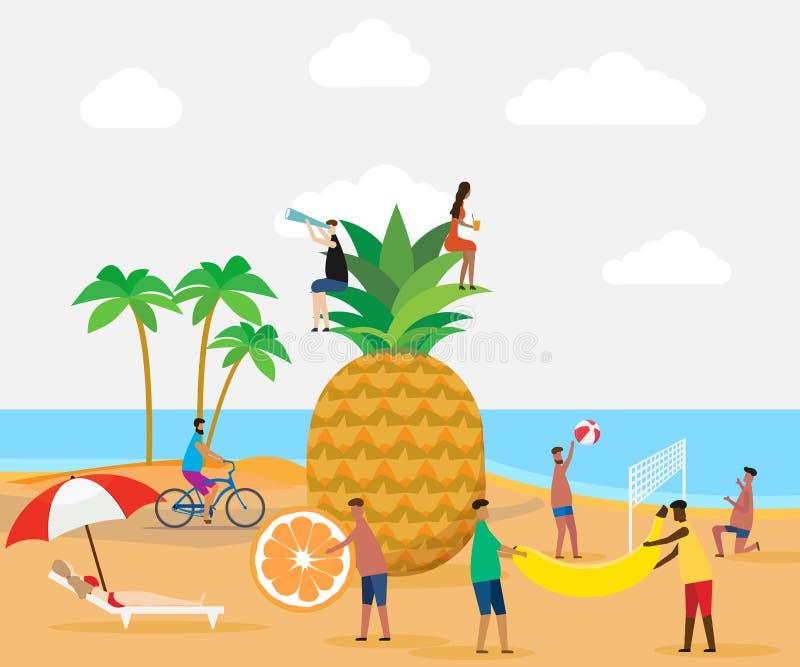 Escena del verano, grupo de personas, ejemplo del vector imagen de archivo libre de regalías