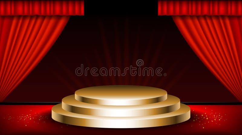 Escena del vintage con las cortinas rojas libre illustration