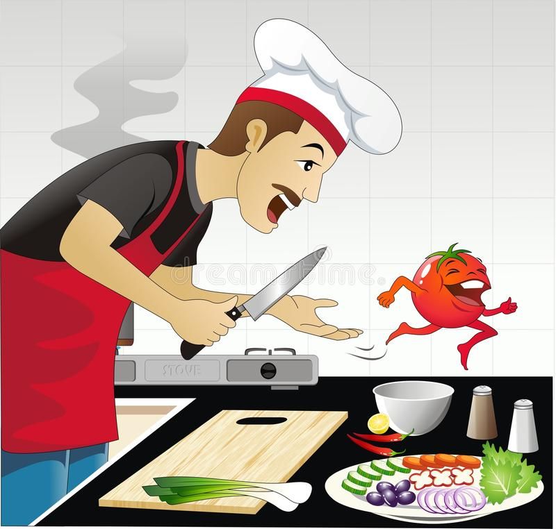 Escena divertida de la cocina stock de ilustración
