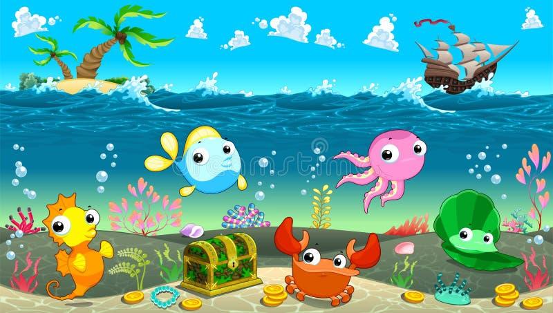 Escena divertida debajo del mar stock de ilustración
