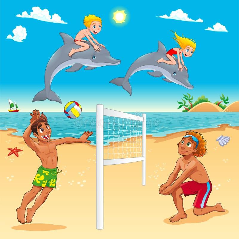 Escena divertida del verano con los delfínes y beachvolley ilustración del vector