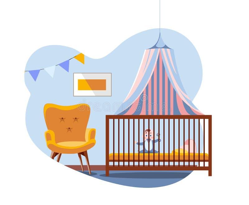 Escena en el interior del cuarto de niños Bebé en cama debajo de un toldo al lado de la silla cómoda suave El sitio del muchacho  libre illustration