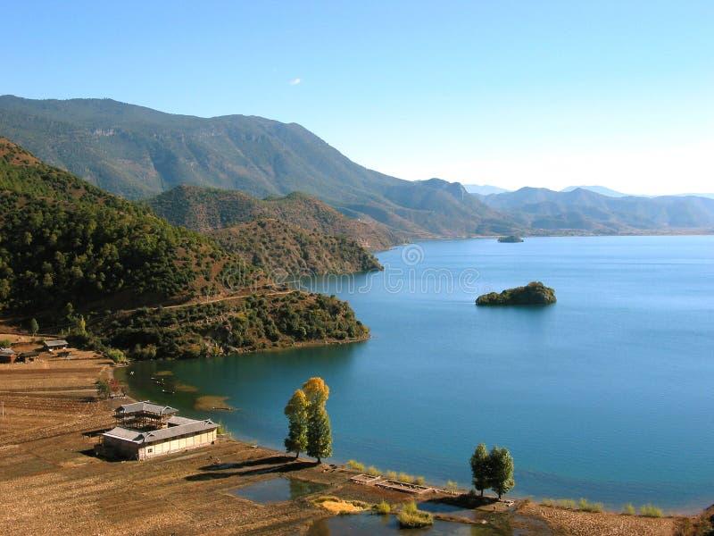Escena en el lago Lugu, China imagen de archivo libre de regalías