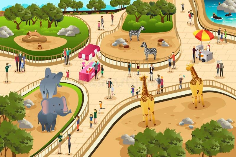 Escena en un parque zoológico stock de ilustración