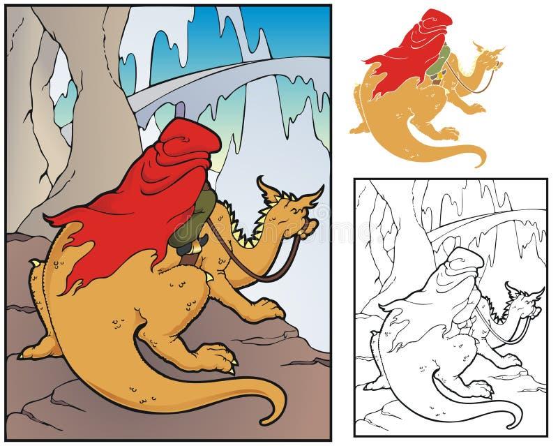 Escena extranjera con el jinete del dragón stock de ilustración