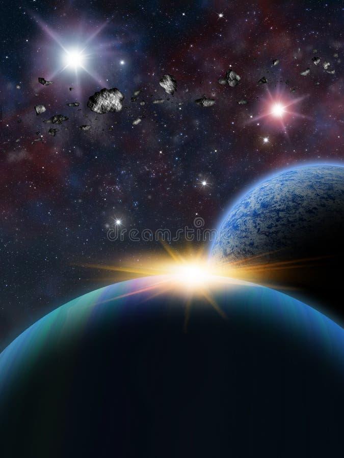 Escena extranjera del espacio de la fantasía del planeta stock de ilustración