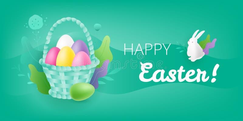 Escena feliz de Pascua con la cesta de mimbre stock de ilustración