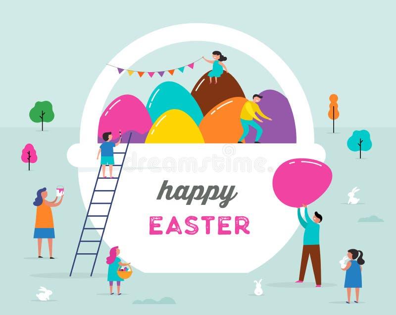Escena feliz de Pascua con las familias, niños Evento de la calle de Pascua, fes stock de ilustración