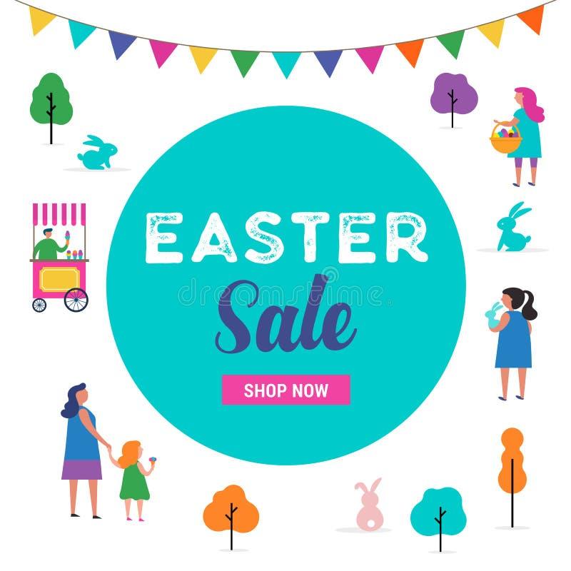 Escena feliz de Pascua con las familias, niños Evento de la calle de Pascua, festival y diseño justo stock de ilustración