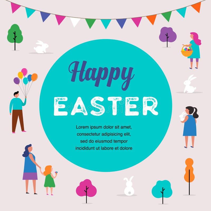 Escena feliz de Pascua con las familias, niños Evento de la calle de Pascua, festival y diseño justo libre illustration