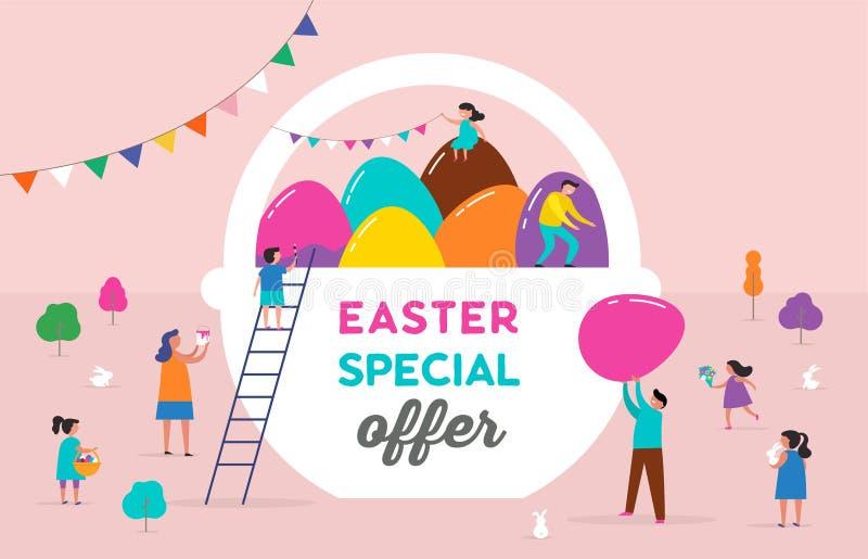 Escena feliz de Pascua con las familias, niños Evento de venta de Pascua, promo stock de ilustración
