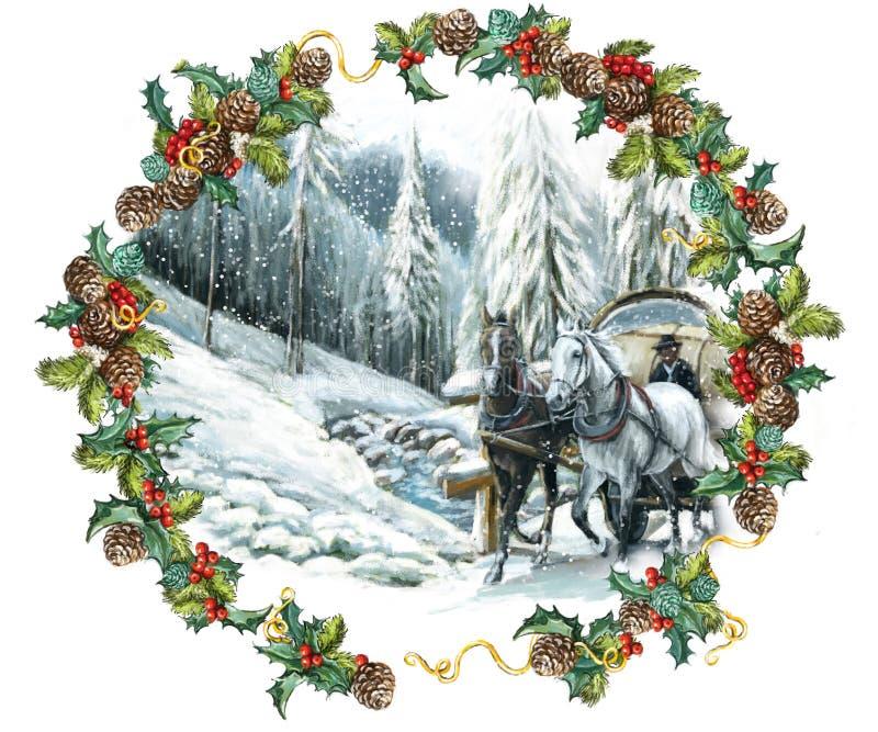 Escena feliz del invierno de la Navidad con los caballos y con un marco imagenes de archivo