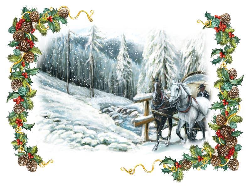 Escena feliz del invierno de la Navidad con los caballos y con un marco foto de archivo