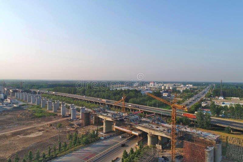 Escena ferroviaria de alta velocidad de la construcción de China foto de archivo libre de regalías