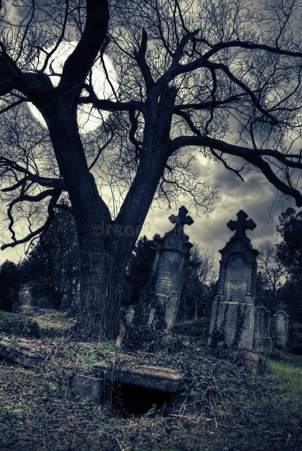 Escena gótica con la tumba abierta foto de archivo libre de regalías