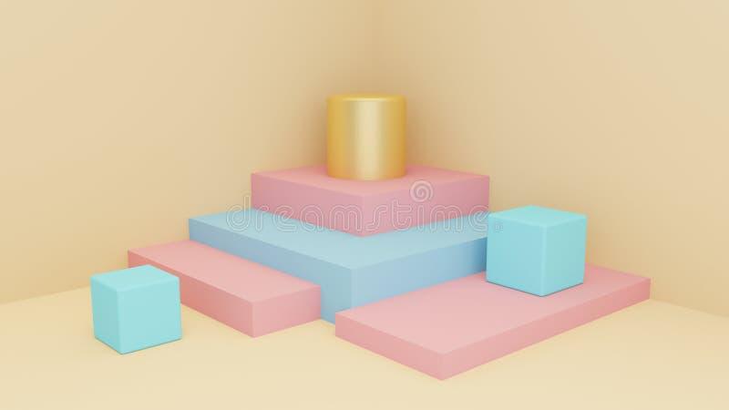 Escena geométrica de las formas en colores de pasteles Estilo mínimo representación 3d stock de ilustración