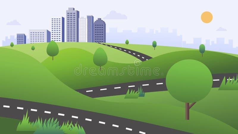 Escena hermosa de la naturaleza con el camino, las colinas verdes, y el ejemplo del vector del fondo de la ciudad Manera de la na ilustración del vector