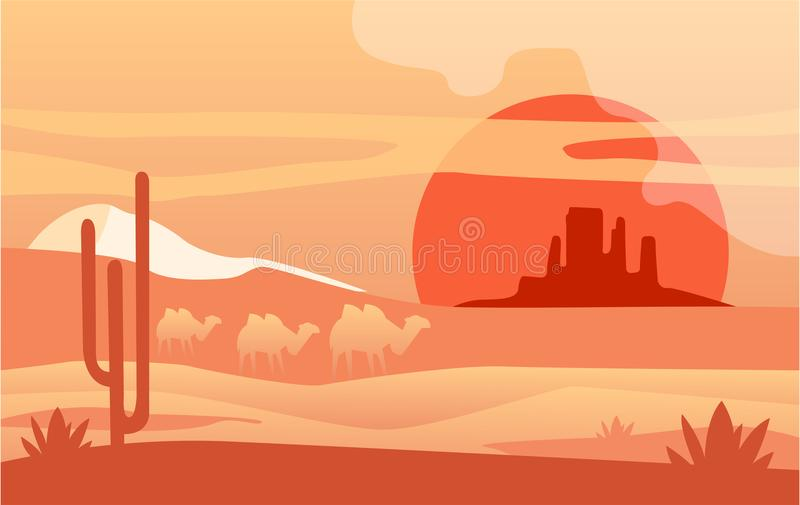 Escena hermosa de la naturaleza, paisaje pacífico con los camellos, plantilla del desierto para la bandera, cartel, revista, cubi ilustración del vector