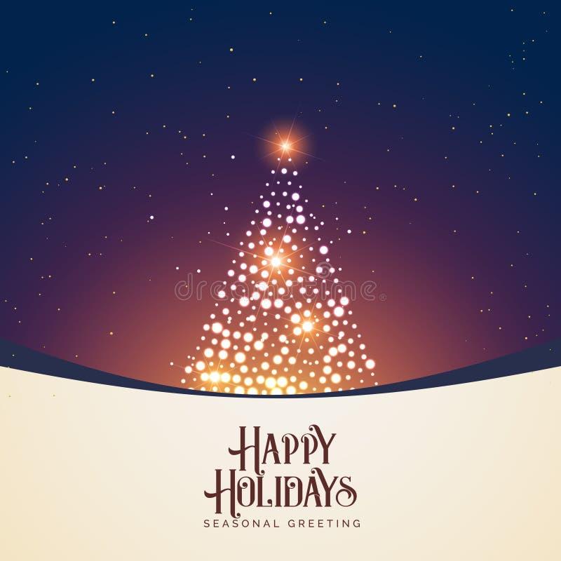 Escena hermosa de la noche del invierno con diseño del árbol de navidad que brilla intensamente libre illustration