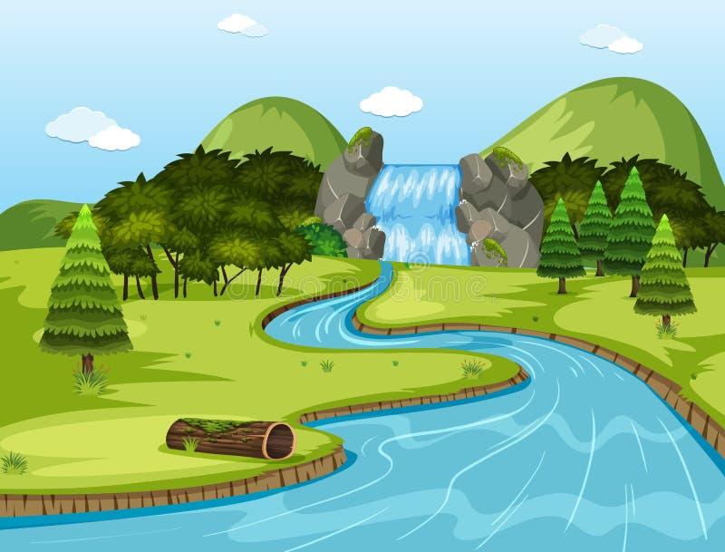 Escena hermosa del paisaje de la cascada stock de ilustración